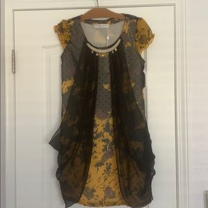 TRINA TURK Print Dress with Decorative Accessory